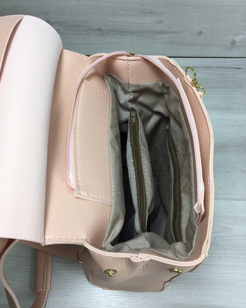 405e1bcca0ee Молодежный сумка-рюкзак Сердце пудрового цвета оптом арт.44610 ...