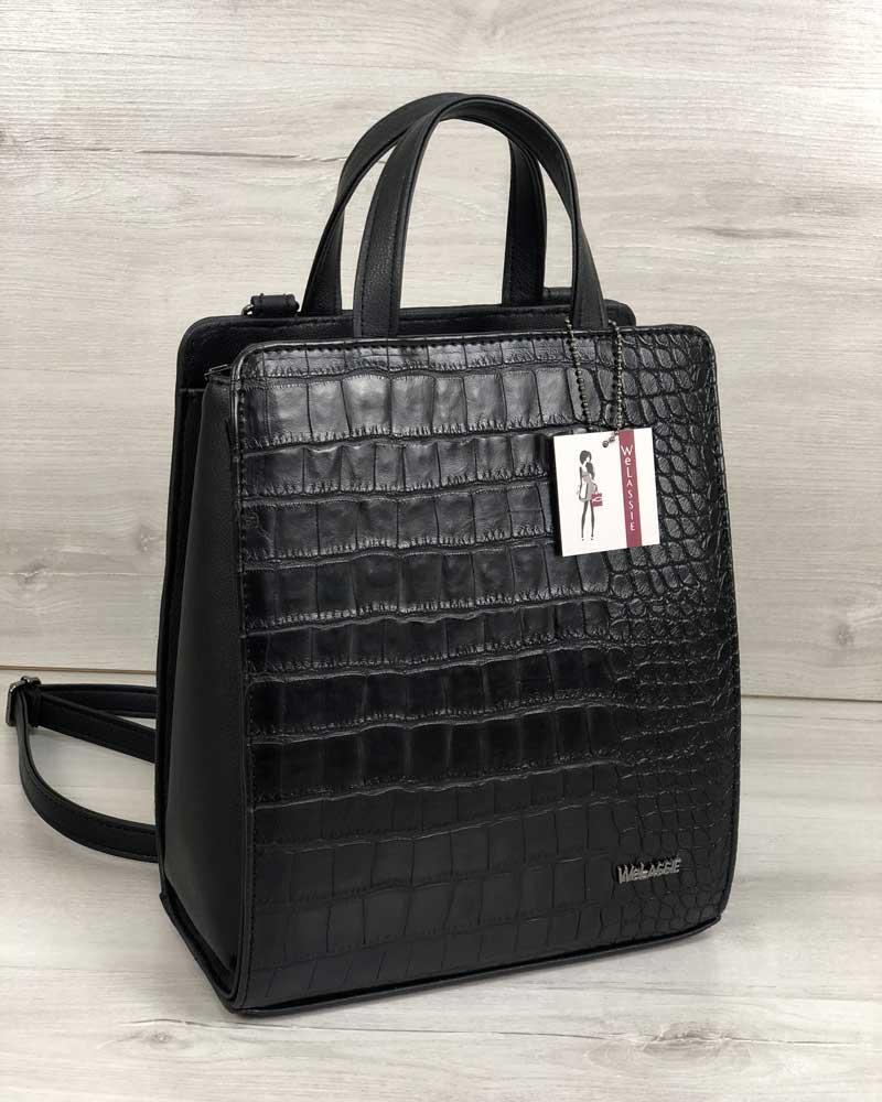 Молодежный каркасный сумка-рюкзак черного цвета со вставкой черный крокодил