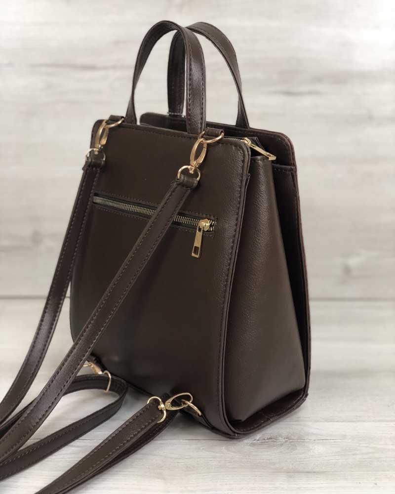 0efe79e6f91a Молодежный каркасный сумка-рюкзак коричневого цвета со вставкой коричневый  крокодил