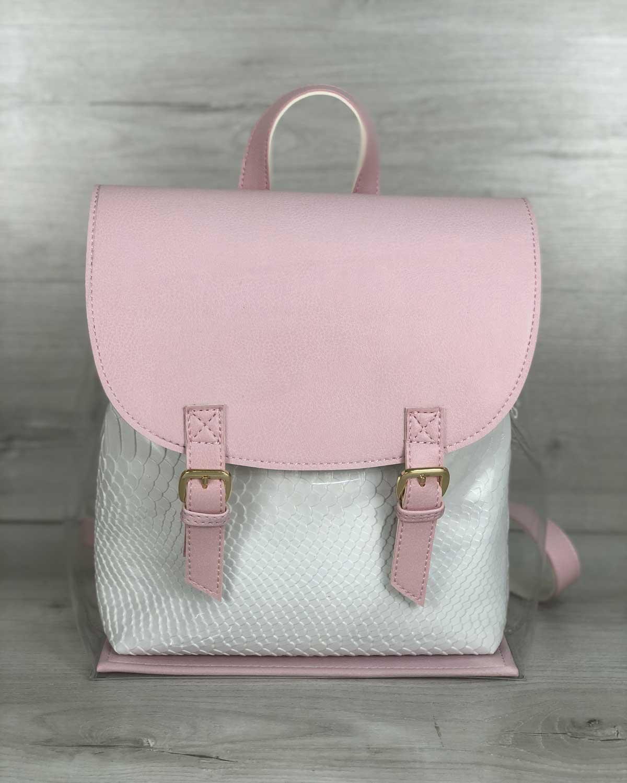 Женский силиконовый рюкзак розовый с косметичкой