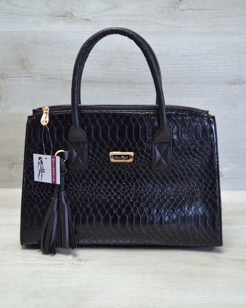 Молодежная женская сумка Кисточка черная кобра