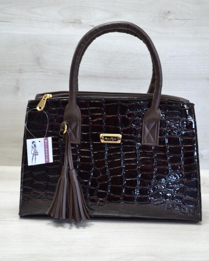 Молодежная женская сумка Кисточка коричневый крокодил лаковый