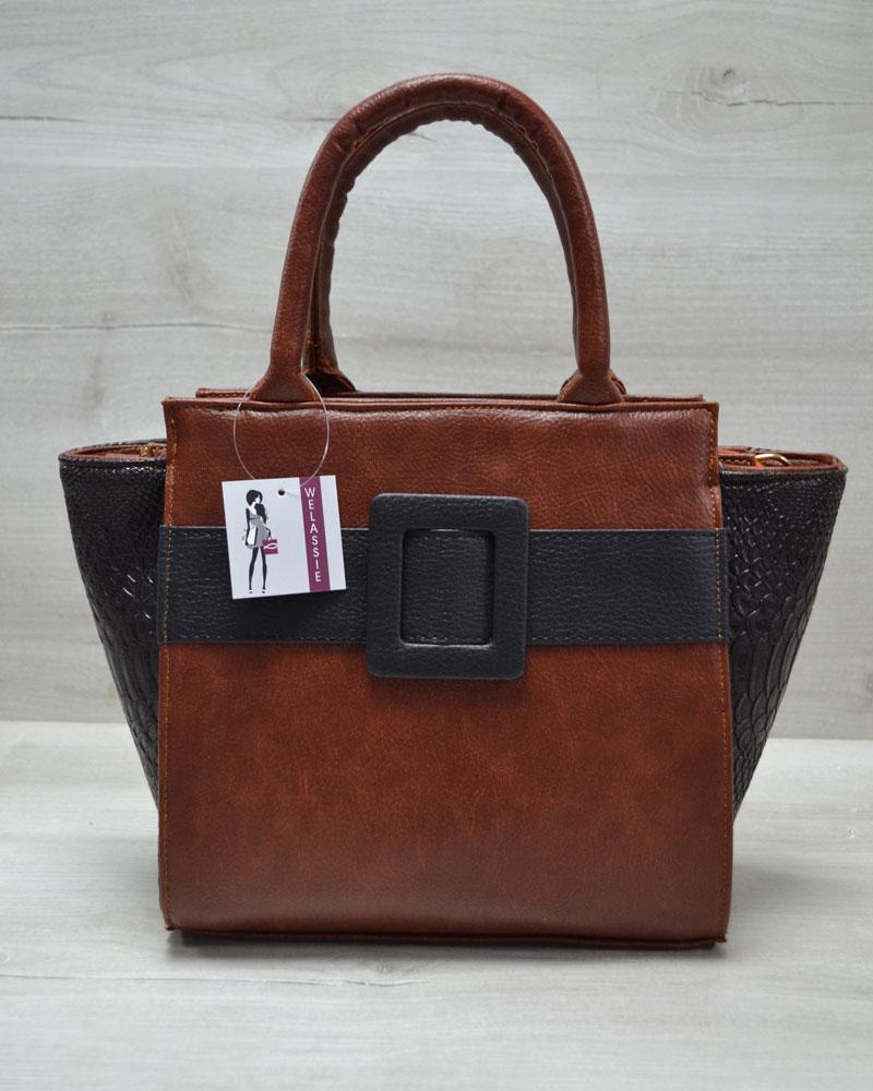 Молодежная женская сумка Комбинированная рыжего цвета с черным ремнем