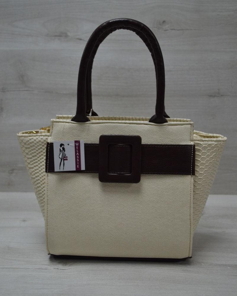 Молодежная женская сумка Комбинированная бежевый гладкий с коричневым ремнем