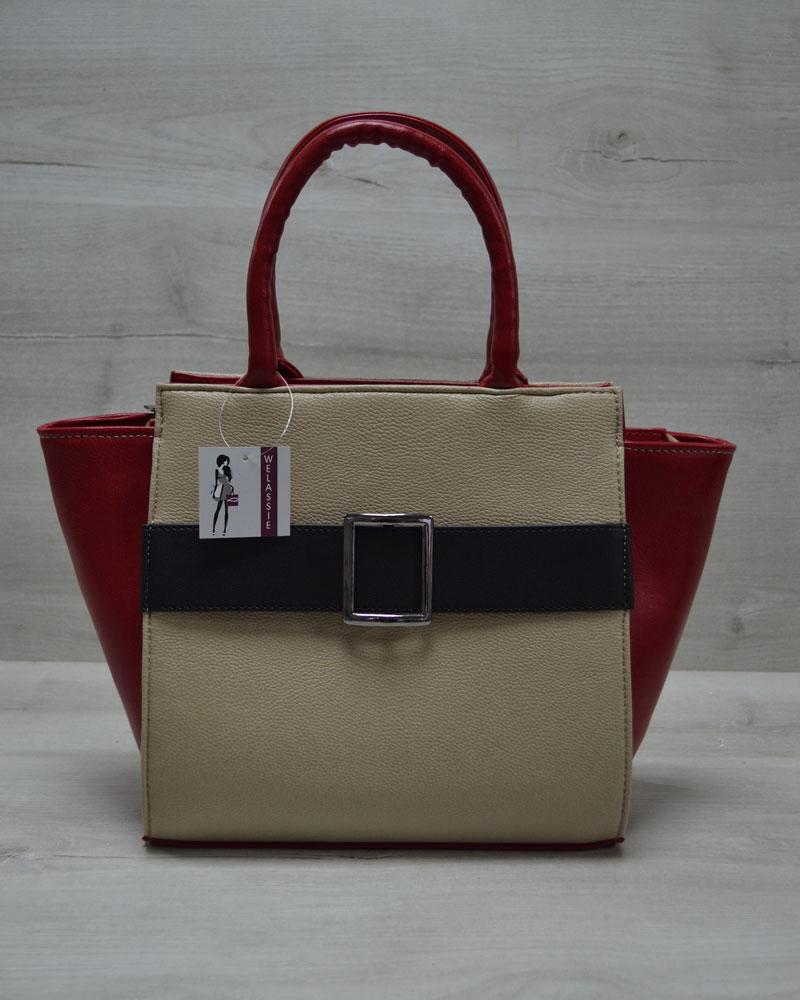Молодежная женская сумка Ремень кофейного цвета с черным гладким