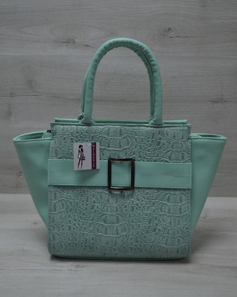Молодежная женская сумка Ремень ментоловый крокодил с ментоловым гладким