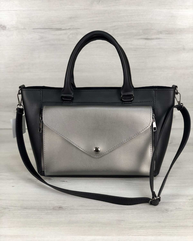 Стильная молодежная сумка Сагари черный с металликом