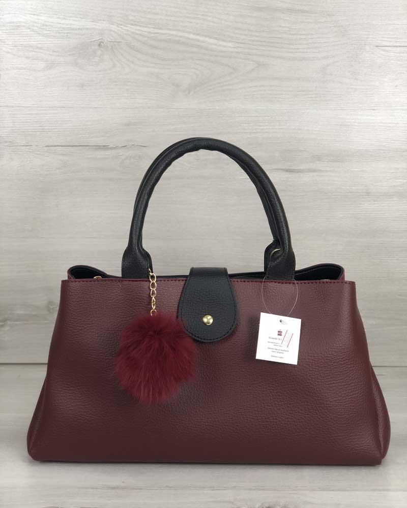 Молодежная сумка Альба бордового с черным цвета