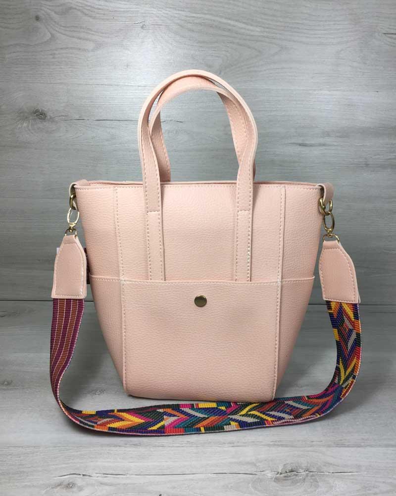 Молодежная женская сумка Милана  с Ярким ремнем пудра цвета