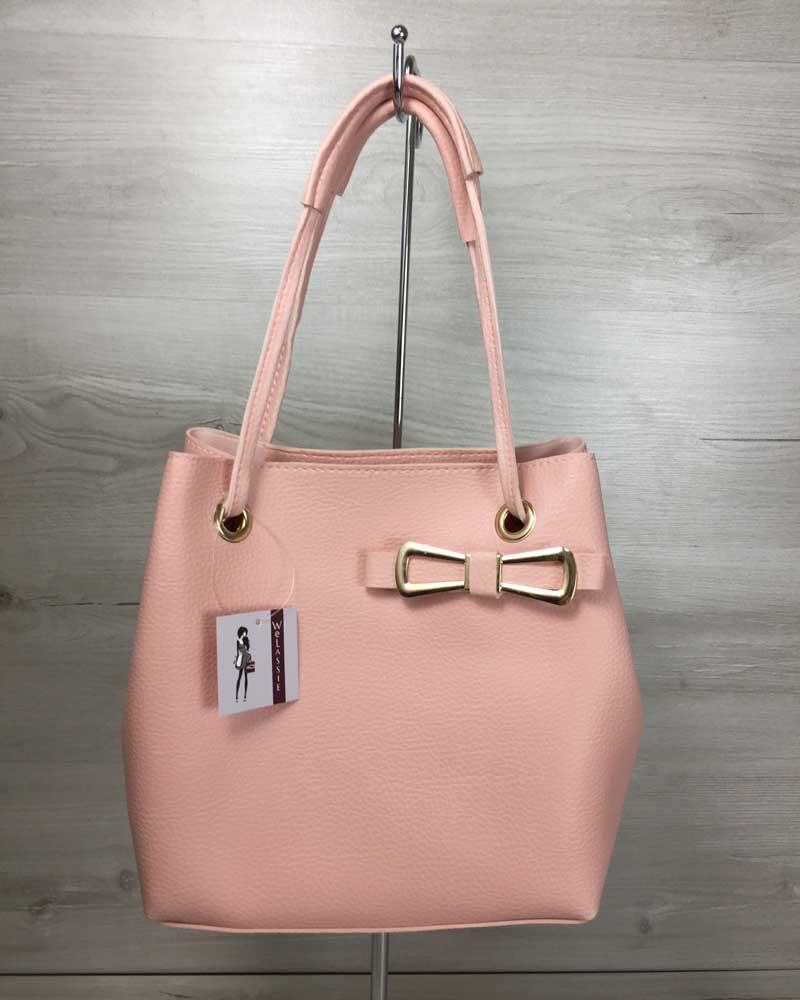 Женская сумка «Бантик» 2 в 1 пудрового цвета