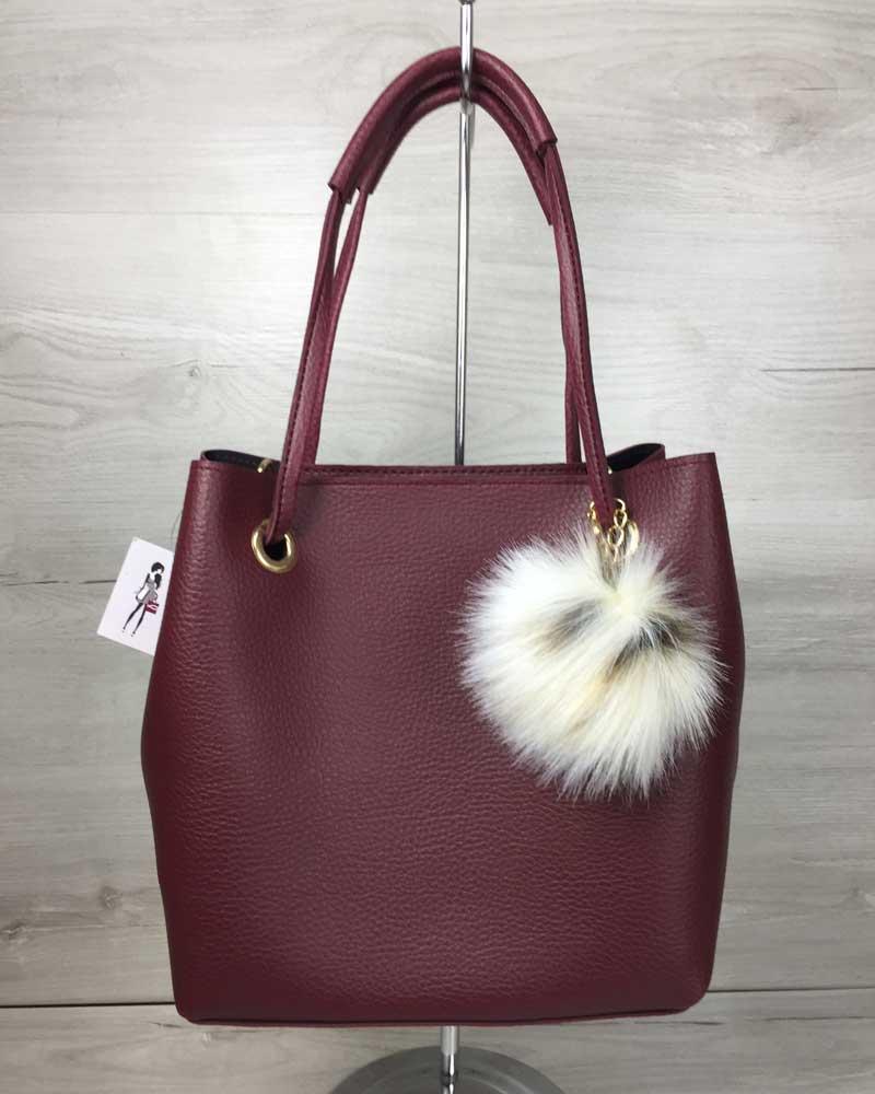 Женская сумка «Пушок» 2 в 1  бордового цвета