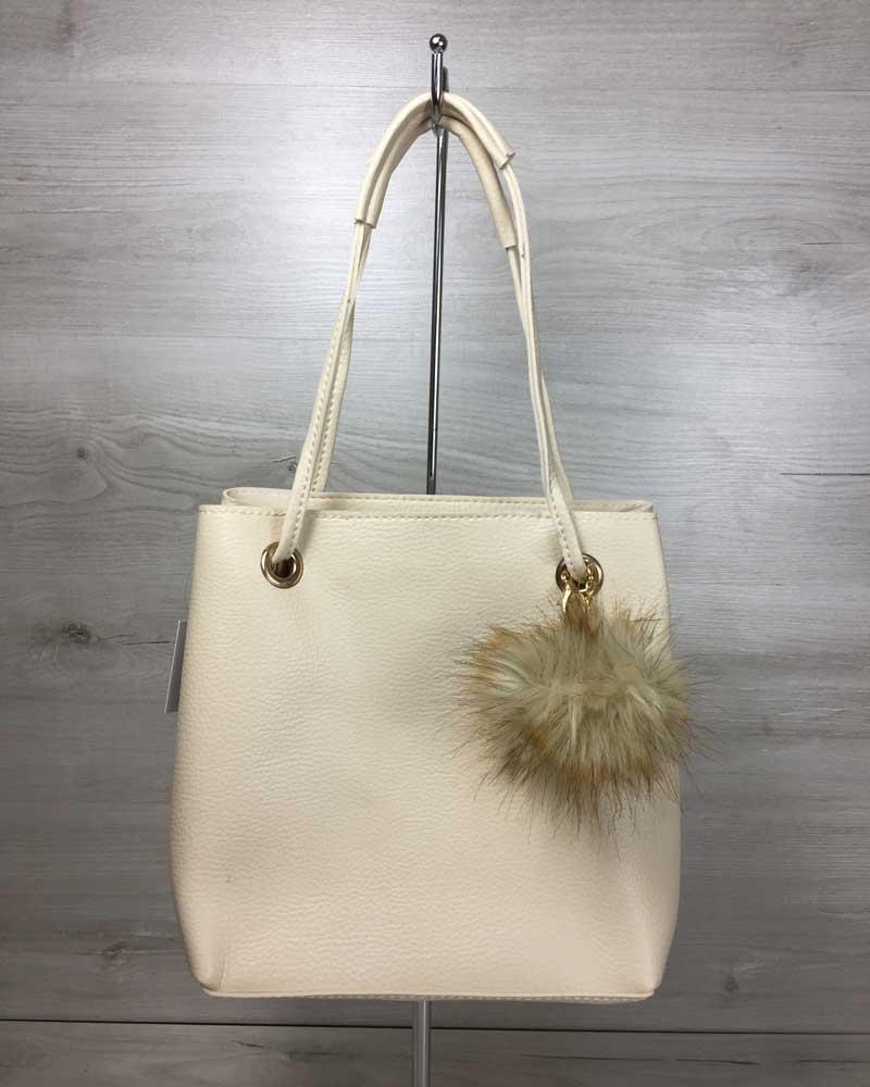 Женская сумка «Пушок» 2 в 1 бежевого цвета