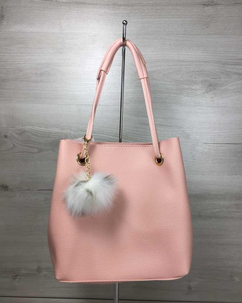 2в1 Молодежная женская сумка Пушок пудрового цвета