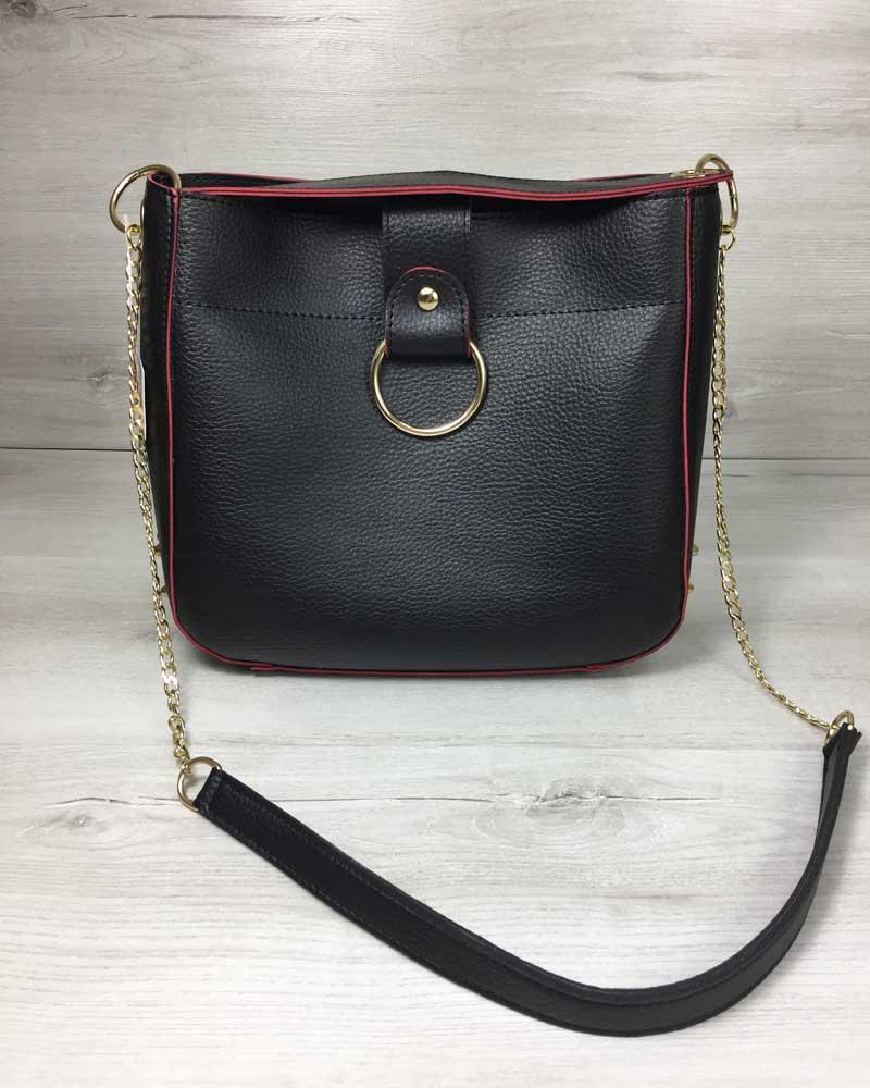 Молодежная женская сумка Ева черного с красным цвета