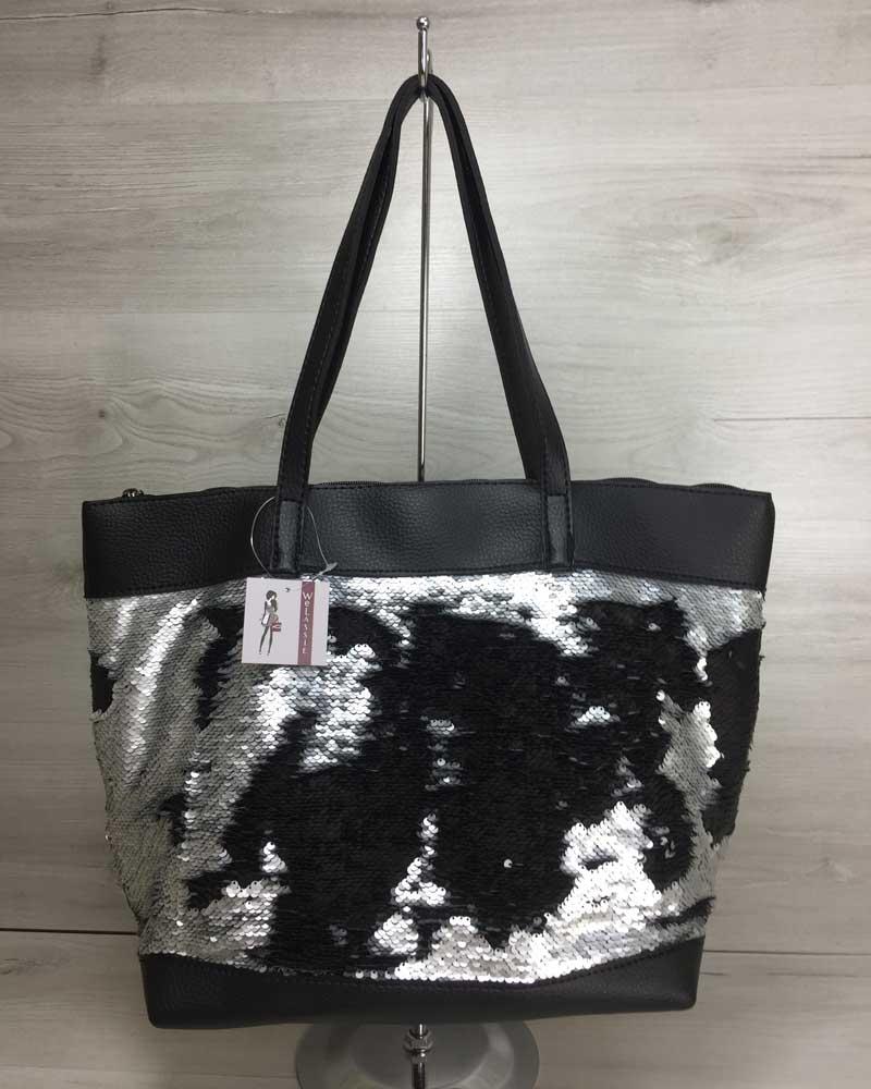 Женская сумка «Лейла» черная с пайетками серебро-черный