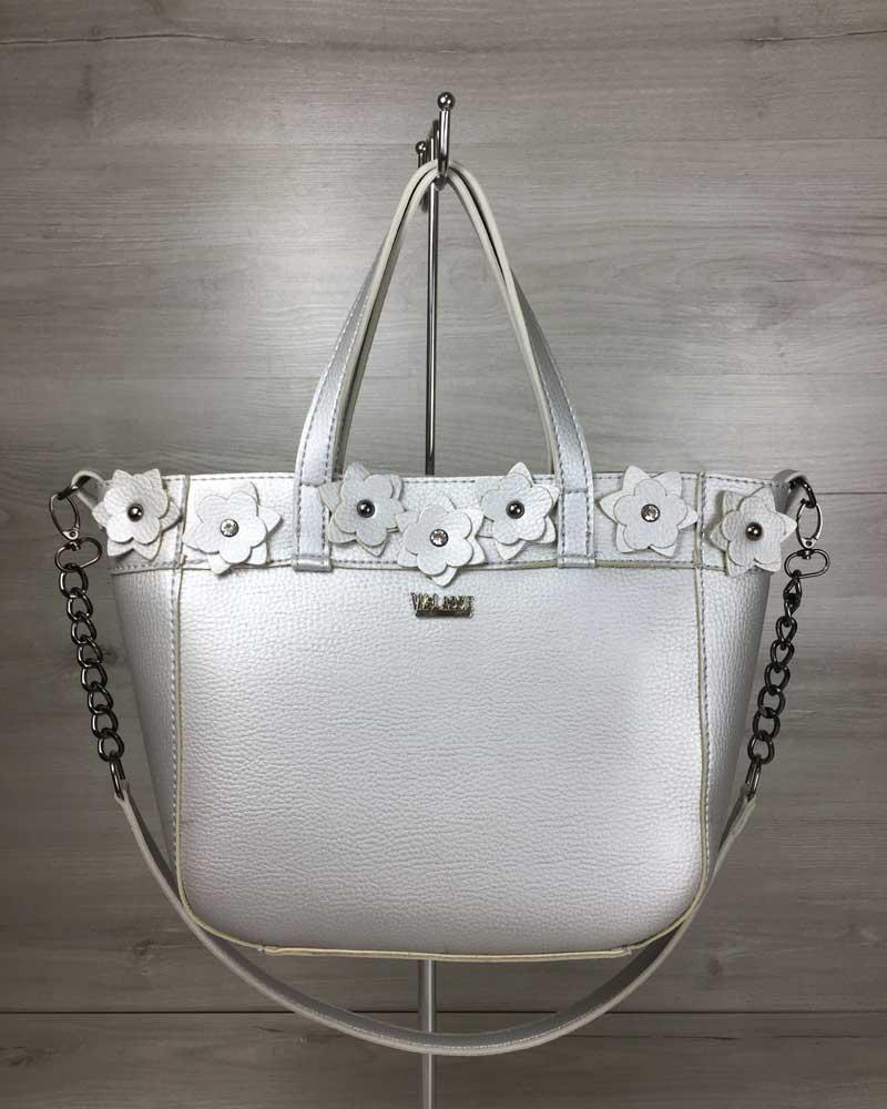 Женская сумка Дарина серебряного цвета (никель)