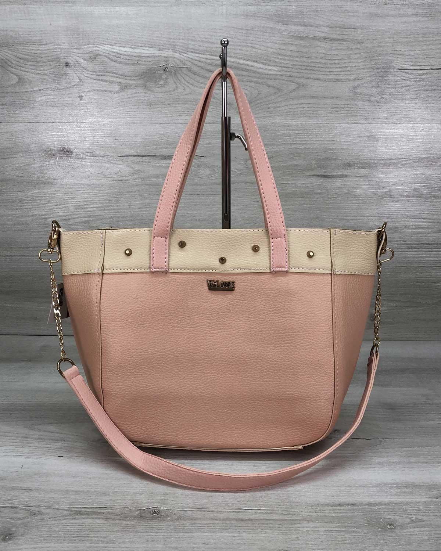 Женская сумка Дарина с шипами пудра