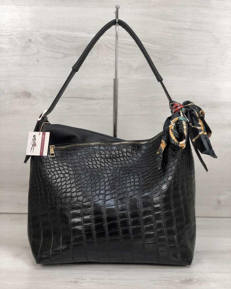 Женская сумка Нея черного цвета со вставкой черный крокодил