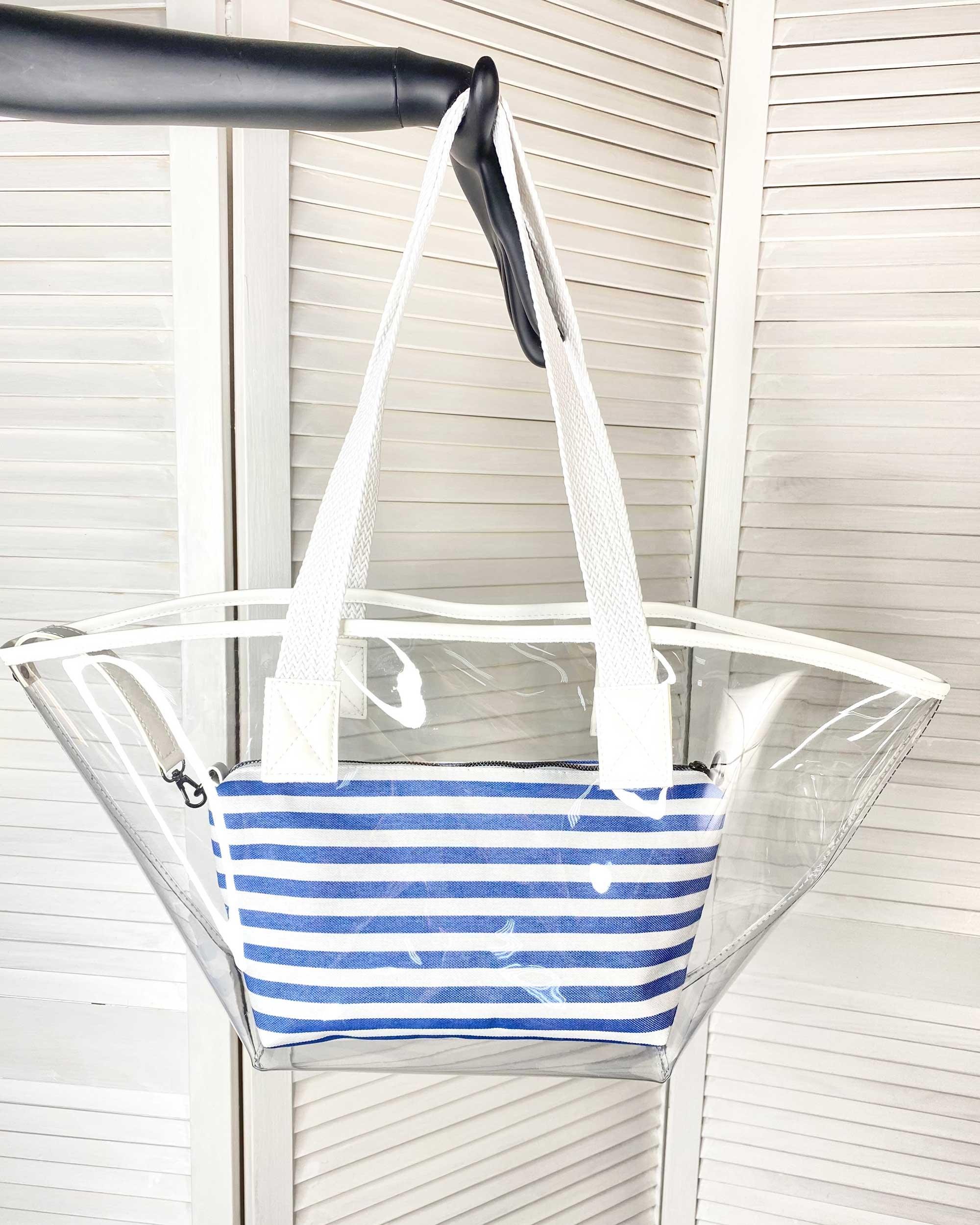 Прозрачная пляжная  сумка  с косметичкой белой с синим