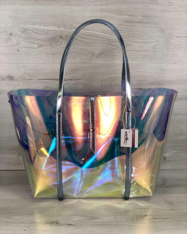 2в1 Молодежная Перламутровая силиконовая сумка с голубым