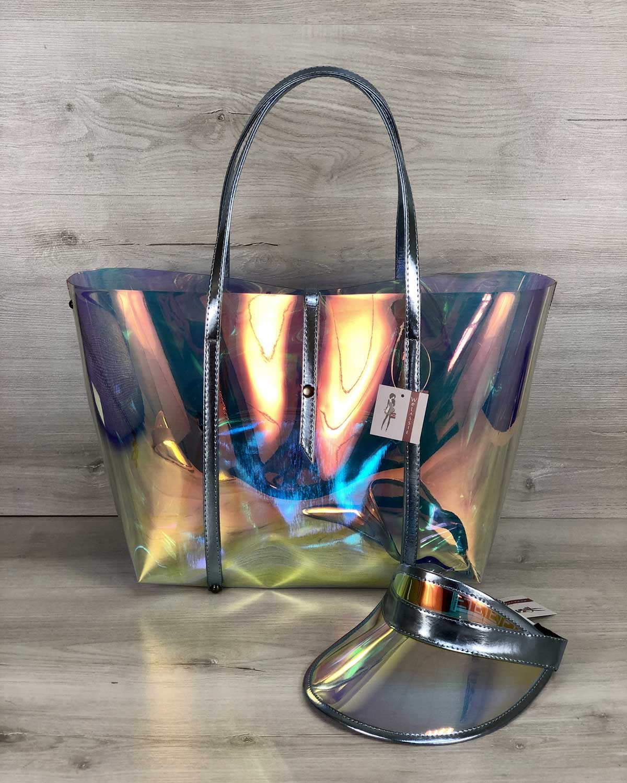 Пляжная сумка «3 в 1» силиконовая и кепка с голубым