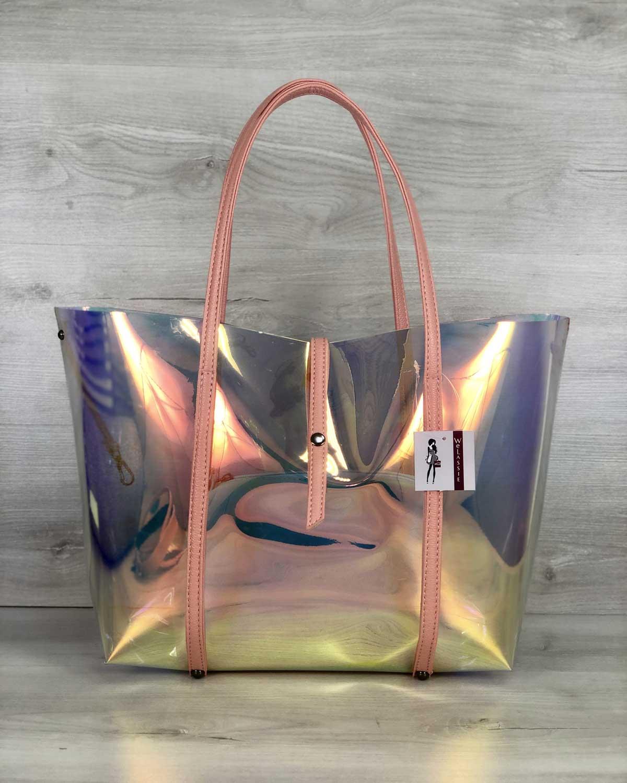 2в1 Молодежная Перламутровая силиконовая сумка с пудрой