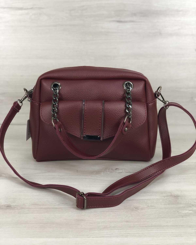 Стильная женская сумка Хлоя бордового цвета