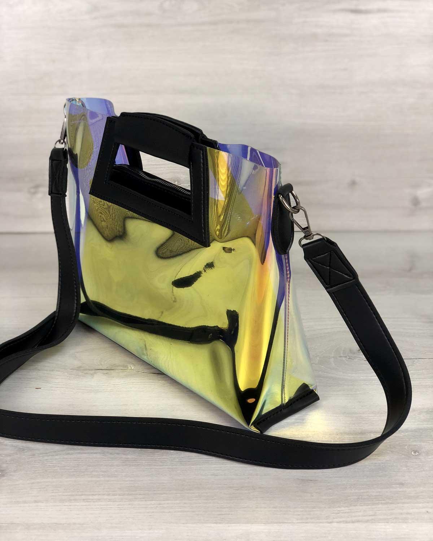 fd0b61d5c786 2в1 Молодежная Перламутровая силиконовая сумка Вита с черным оптом ...