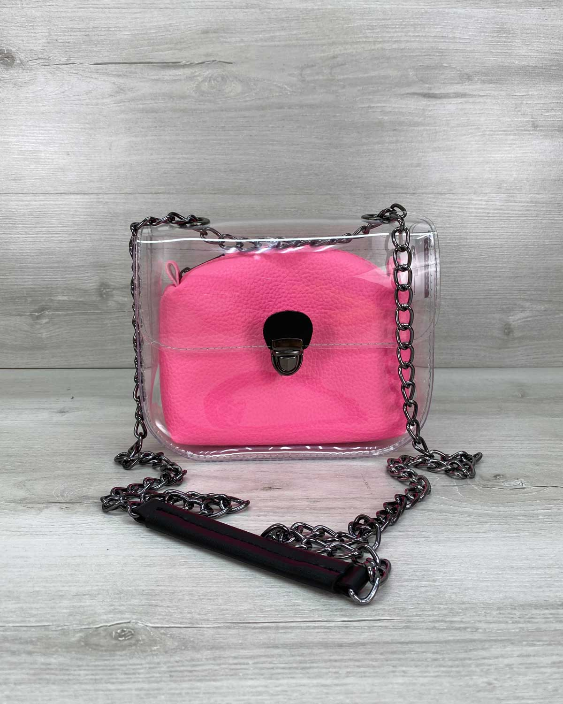 Cумка «Селена» силиконовая с розовой неоновой косметичкой