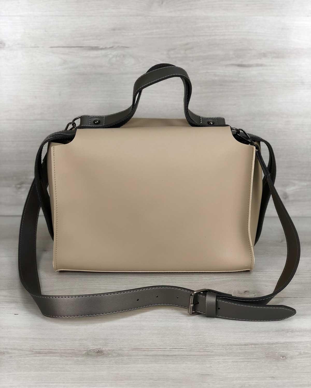 2в1 Стильная женская сумка Малика кремового цвета