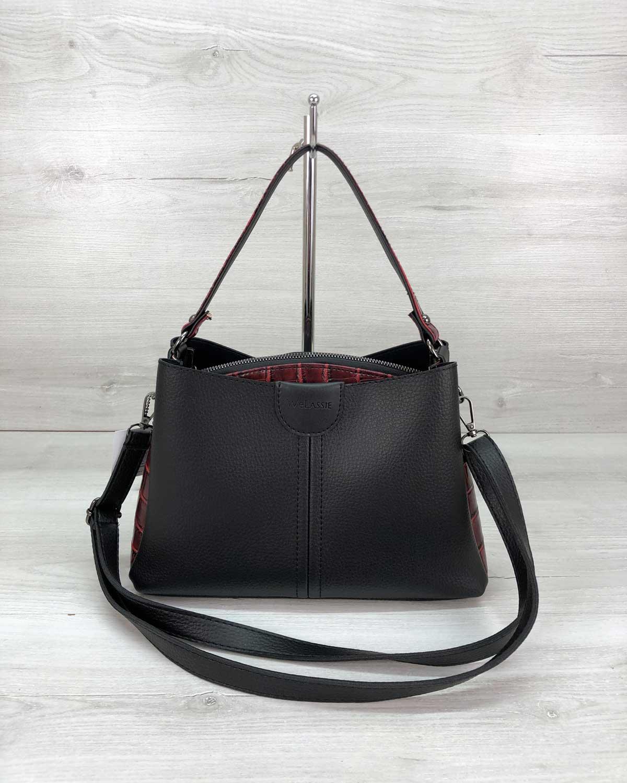Женская сумка Илина черного с красным цвета