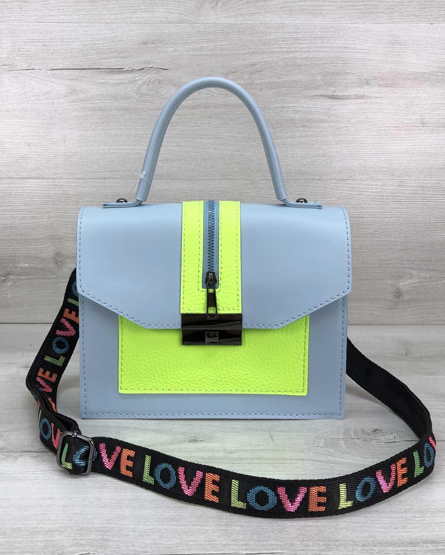 Женская сумка «Daisy» голубая с желтым