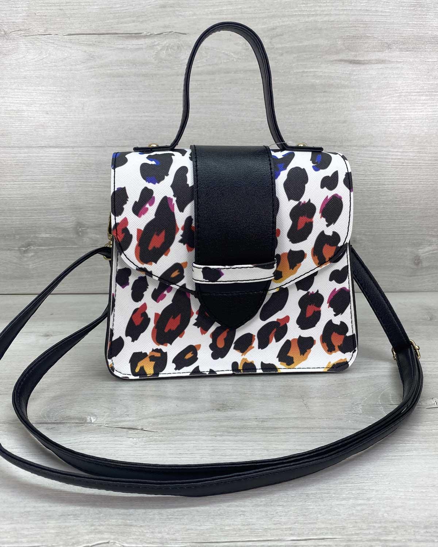 Сумка женская «Оби» черно-белый леопард