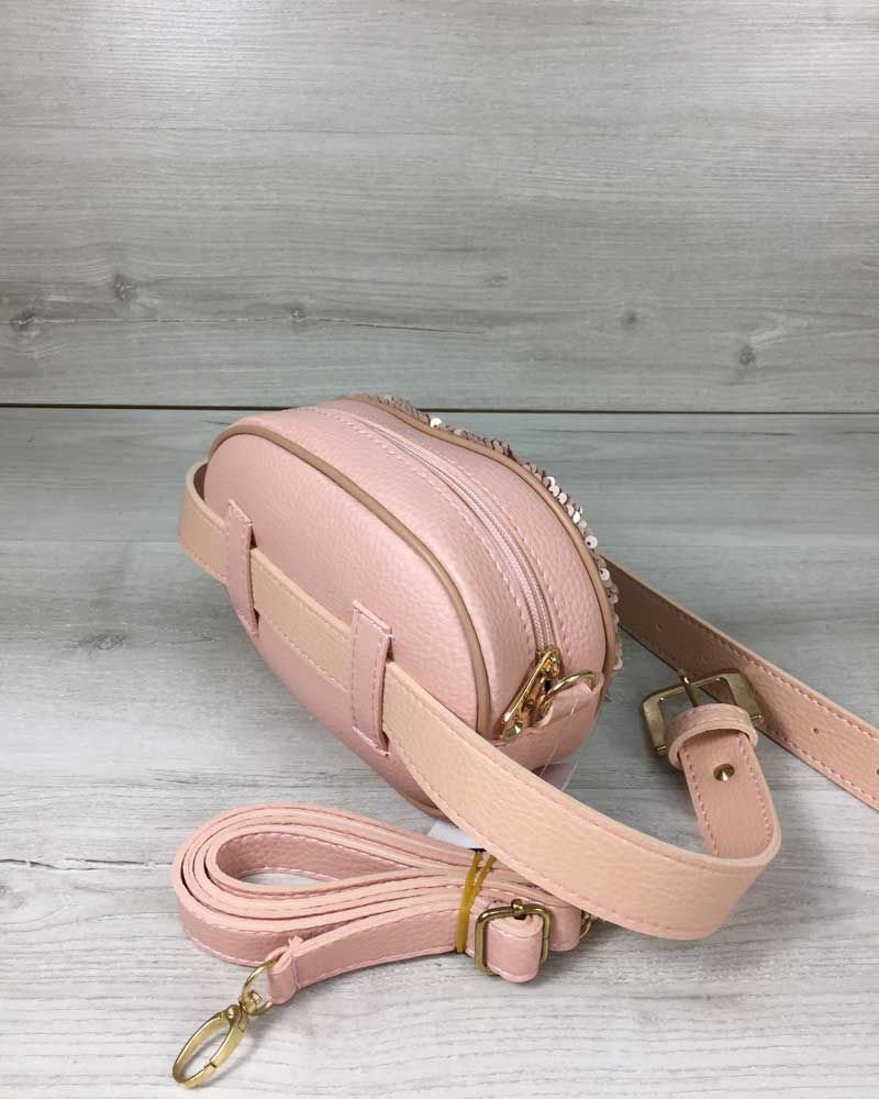 810b24e9e789 Женская сумка на пояс- клатч WeLassie пудрового цвета Пайетки серебро-пудра