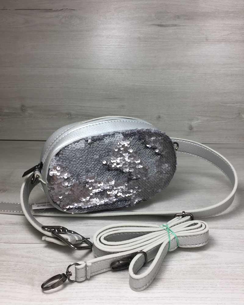 Женская сумка на пояс- клатч WeLassie серебряного цвета Пайетки серебро-серебро
