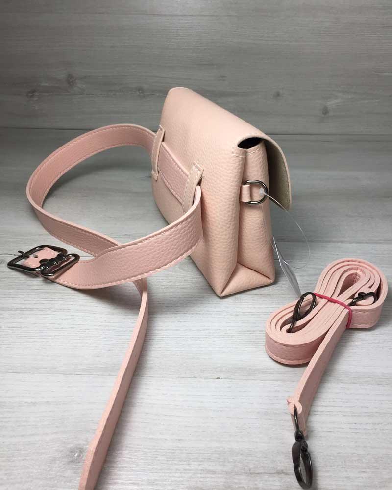 6ab15082a9cf Женская сумка на пояс- клатч Белла пудрового цвета оптом арт.60610 ...