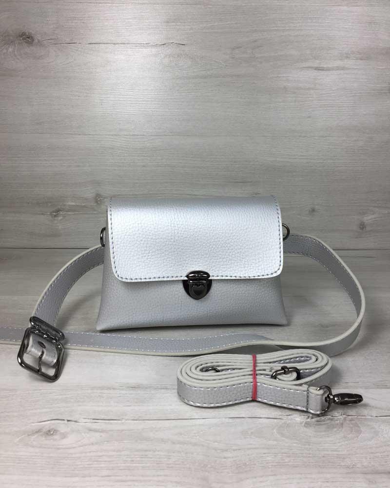 Женская сумка на пояс- клатч Белла серебряного цвета