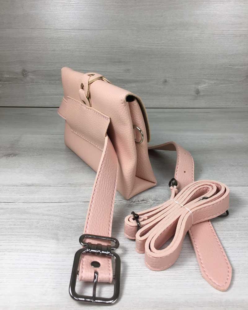 371b00ae0f15 Женская сумка на пояс- клатч Белла пудрового цвета с плетением и кисточкой