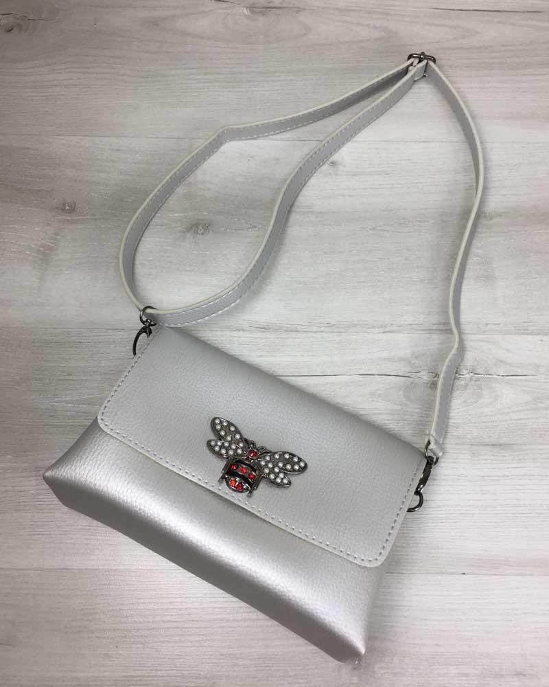 f8cb4044cc4c Женская сумка- клатч Келли серебряного цвета (никель) оптом арт ...