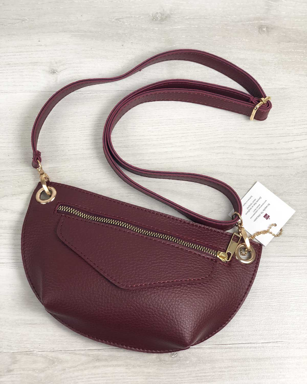 Женская сумка сумка на пояс- клатч Нана бордового цвета