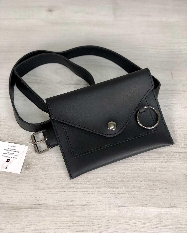 Стильная женская сумка на пояс Moris черного цвета