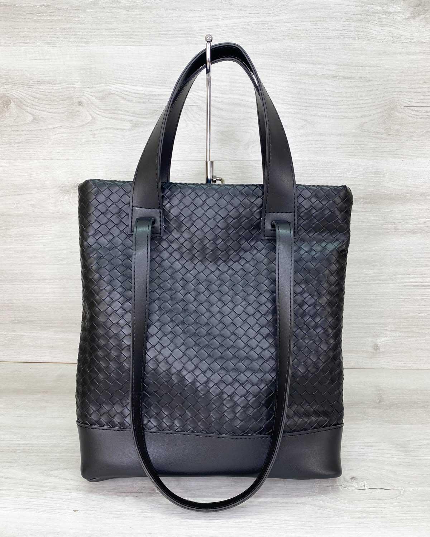 Женская сумка «Бруки» черная плетеная