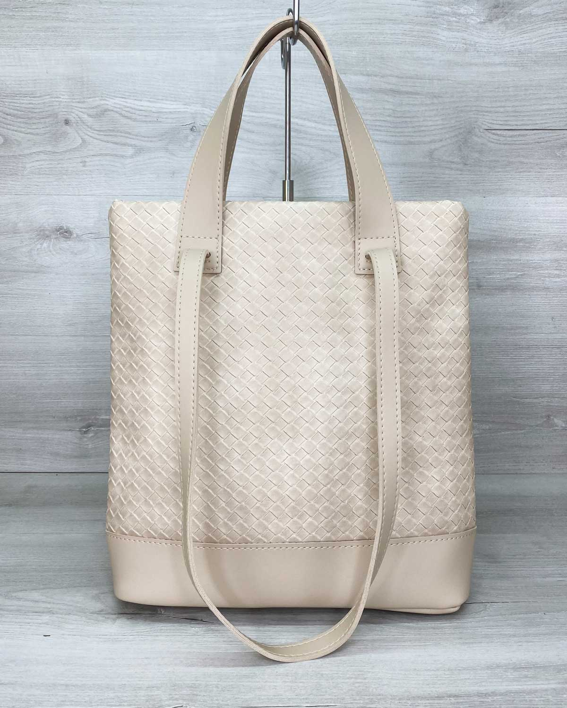 Женская сумка «Бруки» бежевая плетеная