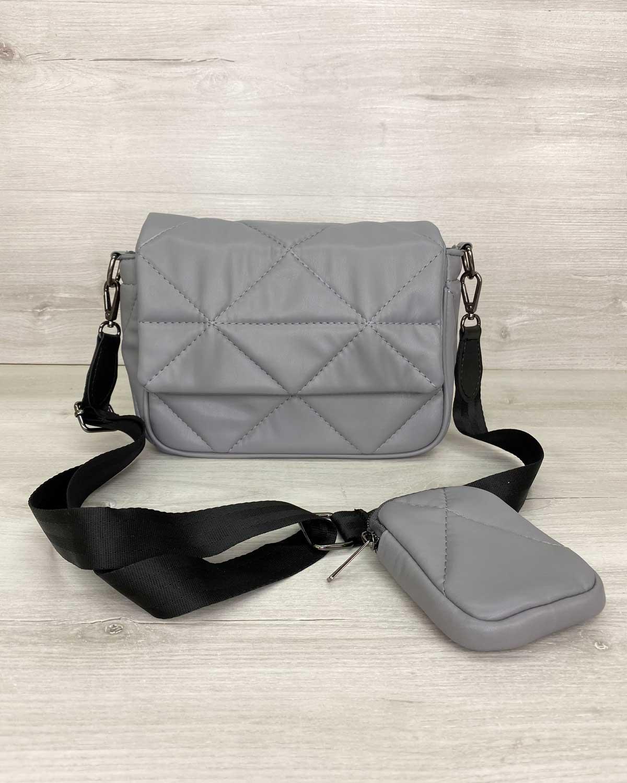 Женская сумка с кошельком «Роуз» темно серая