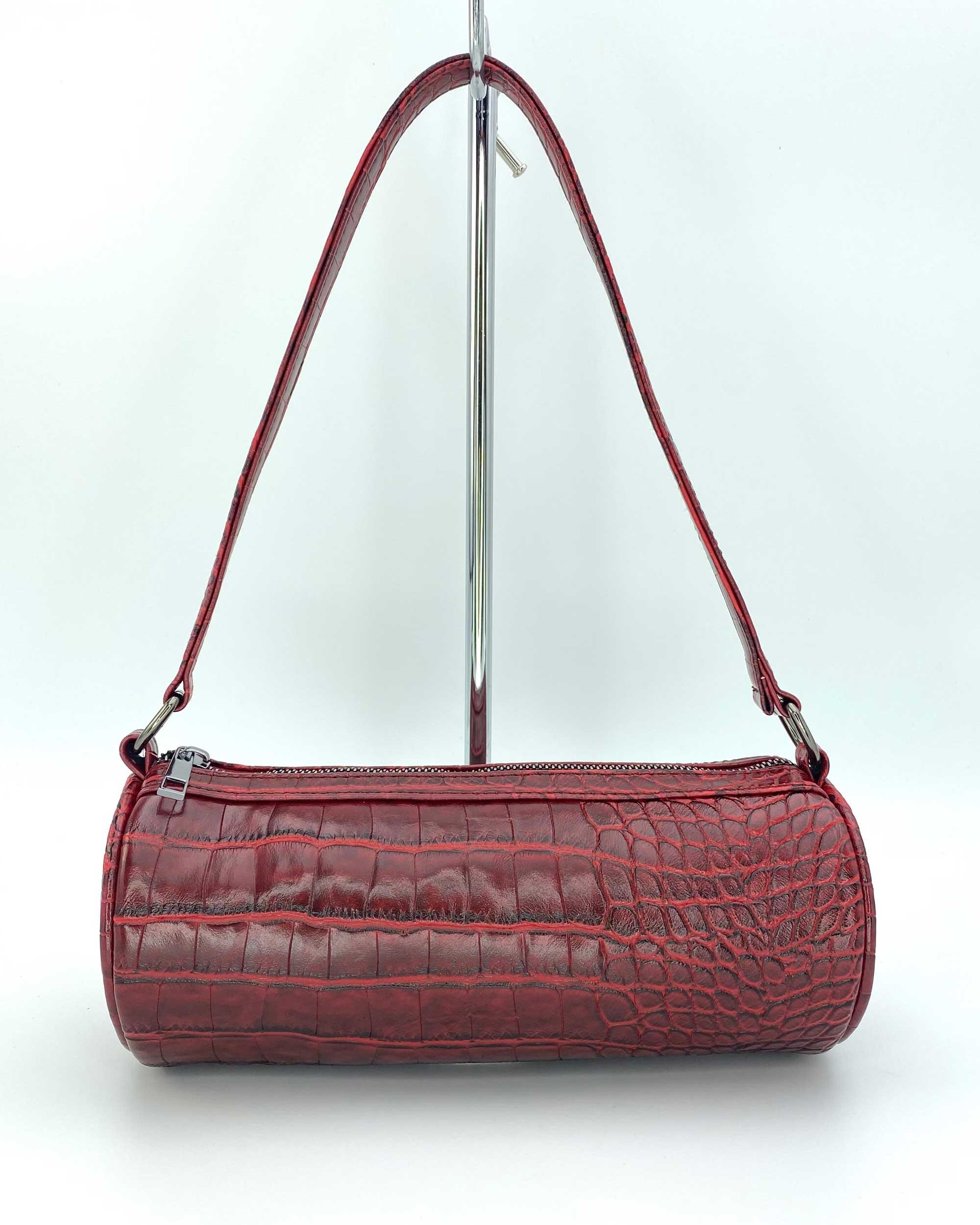 Женская сумка «Бэтс» красный крокодил