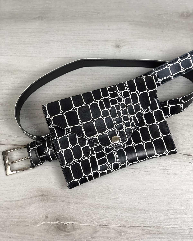 22c336672 Женская сумка на пояс черный крокодил оптом арт.99108 | WeLassie