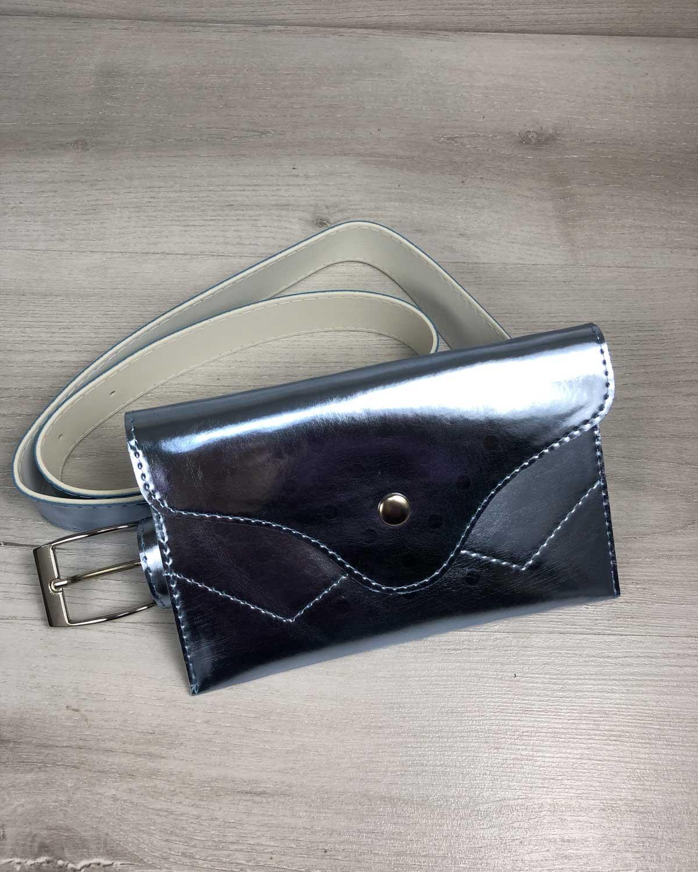 Женская сумка на пояс перламутрового голубого цвета