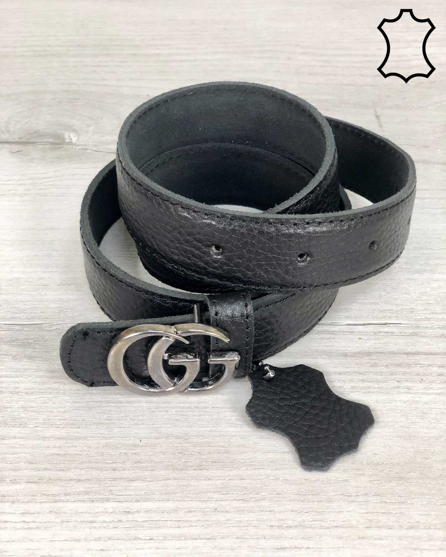 Кожаный ремень черного цвета