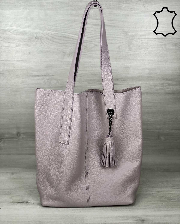 Кожаная  сумка шоппер женская «Jolie» фиалкового цвета