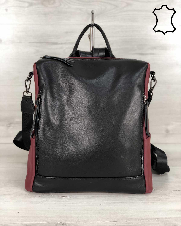 Кожаная  сумка-рюкзак Taus черного с бордовым цвета